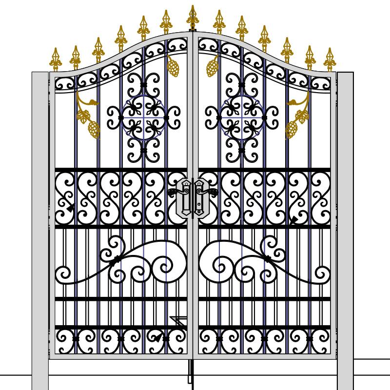 ロートアイアン,豪華門扉,玄関ゲート,アイアンドア,制作メーカー,特注制作,セミオーダー