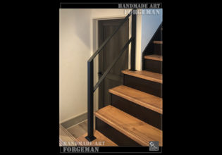 ロートアイアン階段手摺,シンプル,平板FB