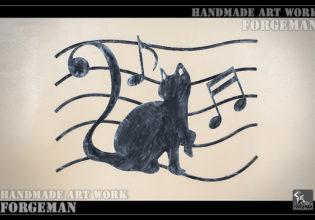 ロートアイアン看板サイン,猫,音符