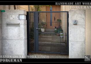ロートアイアン門扉,シンプル,和風,鉄門扉